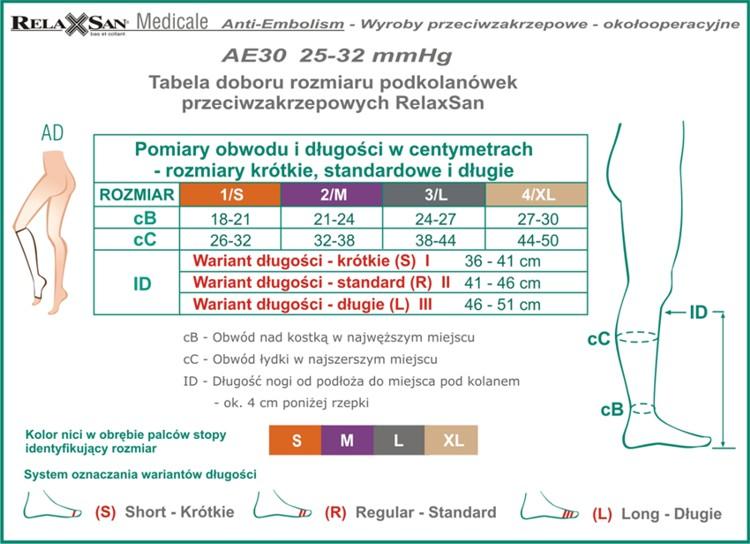 Tabela AE30 podkolanówki